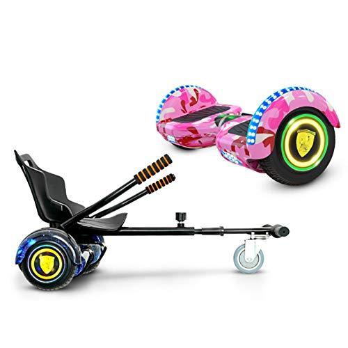 NFJ Scooter Autoequilibrado con Hoverkart, Hoverboard y Kart Altavoz Bluetooth Patineta Eléctrica Inteligente con Luz LED en La Rueda Hoverboard,Pink-10in