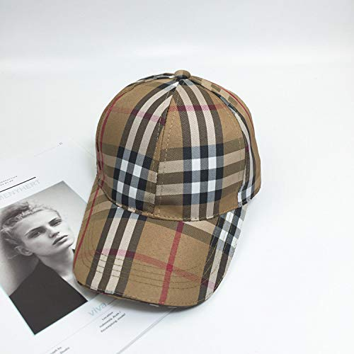 mlpnko Klassische Plaid-Hut-Kappe Weibliche England-Plaid-Baseballmütze Coffee Cap Around 54-58cm