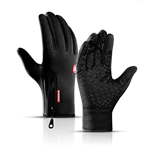 Winter Warm Touch Screen Sport Fishing Men Gloves Waterproof Ski Army Cycling Windproof Nonslip Motorcycle Camping Female Gloves (Color : Black, Gloves Size : XL)