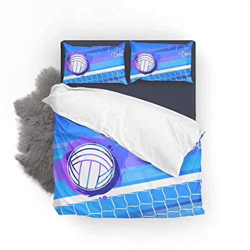 FlowerFish Volleyball Net and Ball Ultra Soft Bed Set Lightweight Brushed Microfiber Fabric Bedroom Decor Best Gift for Bedroom -1Duvet Cover + 2Pillowcases, Queen Size