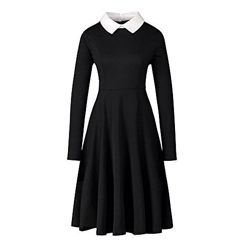 Enfei Frauen Langarm Casual Peter Pan Kragen Fit Flare Baumwolle Schwarz Plissee Midi Halloween Kleid für Frauen