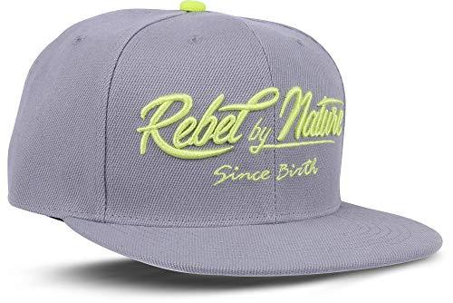 RebelbyNature RC2 - Snapback Cap Font Mütze Unisex Kappe Hat Sport Baseball 100% Acryl - Collection No1-6Panel ORIGINAL Rebel (NEON-Grey)