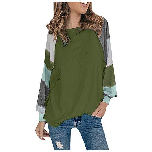 WAJLSWIK Blusa de moda para mujer, informal, suelta, a rayas, cuello redondo, manga larga, camiseta de túnica
