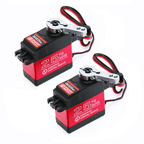 Youleke 2Pack 25KG High Torque RC Digital Servo,Waterproof Full Metal Gear Servo with 25T Servo Horn(270°)