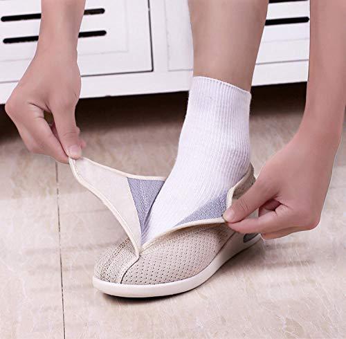 B/H Hombre Ajustable De Velcro Zapatillas OrtopéDica,Zapatos de pie diabético, Zapatos valgus para Ancianos-Beige_40