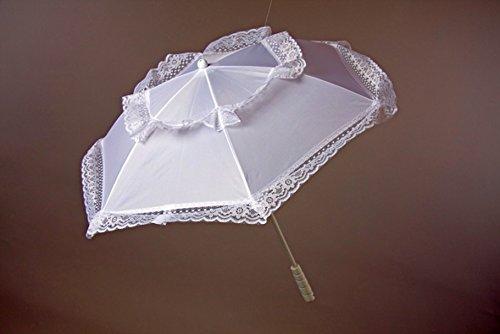 Amakando Parasol à Volants Parapluie avec Dentelle ombrelle décorative Blanche Mariage décoration