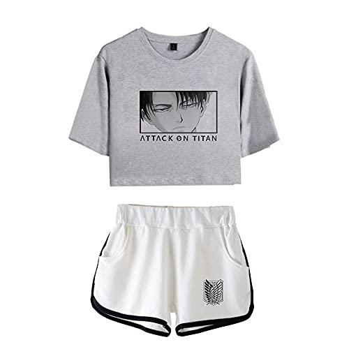 Attack on Titan Damen Tshirt und Shorts, Levi Ackermann AOT Scouting Legion Aufklärungstrupp T-Shirts Kurze Hose Anime Cosplay Kurzarm Shirt Tops Trainingsanzug Cos Sportswear Set (B3,2XL)