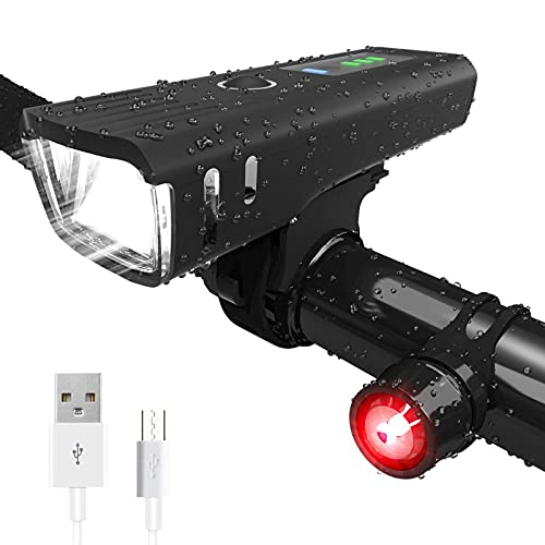HMEDA Luz Bicicleta Recargable USB,LED Impermeable Conjuntos de Faros Delanteros y Traseros para Ciclismo, Luz LED Bicicleta para Carretera y Montaña - Seguridad para la Noche