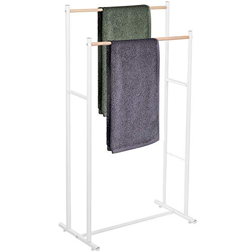 SPRINGOS Toallero de pie con 2 barras para toallas de baño, de pie, sostenible, accesorio de baño para toallas, para ropa, metal, estable, moderno, minimalista (blanco - 2 barras de toalla)