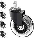SAIYI 10mm madre de reemplazo for sillas de ruedas giratorias Protección de Madera Dura Baja en sillas de oficina Ikea  3' grande Heavy Duty de goma PU Ikea Caster Tamaño del vástago: 10 mm x 22 mm he