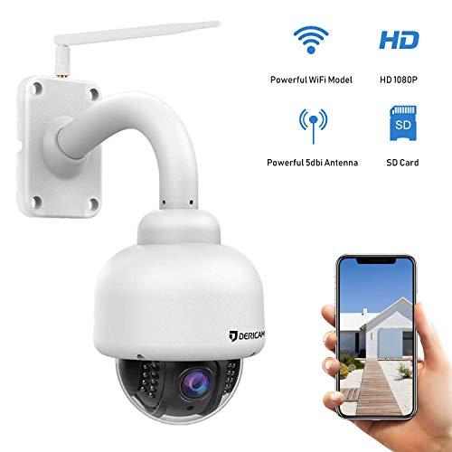 Cámara de Seguridad WiFi Exterior Dericam, cámara PTZ, Crystal Full HD 1080P, Zoom óptico de 4X, Enfoque automático, Tarjeta de Memoria de 32GB preinstalada, S2-32G