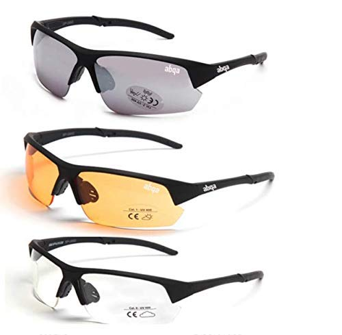 Abqa Sports India High Range Anti Glare AR Coating HD Vision Shatter Proof Lens. Slim Fit Cricket/Biking/Cycling/Running/Driving Goggles 100% UV Protection Translucent Glass Effect Frame