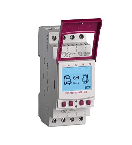 GRÄSSLIN - 43.03.0002.1 - Talento Smart C25 - Interruptor Horario Digital con Interfaz Inalámbirco Bluetooth 4.0 - 2 Canales - Montaje Carril DIN - Programación Movil a través de la App - AC 110-230 V