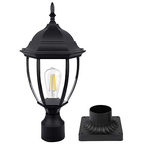 Lamp Post Light Fixture with 3-Inch Pier Mount, Outdoor Post Light with Clear Glass, Waterproof Large 8In Post Lantern for Garden, Patio, Pathway