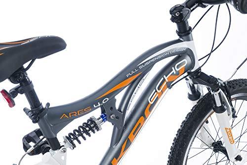 KRON ARES 4.0 Vollgefedertes Kinder Mountainbike 20 Zoll ab 6, 7, 8, 9 Jahre | 21 Gang Shimano Kettenschaltung mit V-Bremse | Kinderfahrrad 14 Zoll Rahmen Vollfederung | Grau Orange - 5