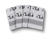 saewelo Set de 4 Trapos de Cocina Originales   100% algodón, 50x70 cm   como Accesorios de Cocina o Toalla Seca Moderna (Osos Panda, Gris)