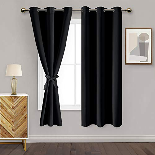 DWCN Black Blackout Curtains for Bedroom with Tiebacks - Thermal Insulated Light Blocking Grommet Window Curtains for Living Room, 42 x 63 inch Length, Set of 2 Drape Panels