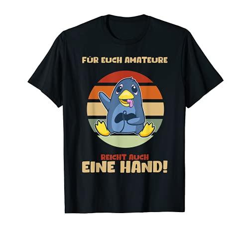 ゲーマーペンギン 片手でゲームを楽しむ Tシャツ