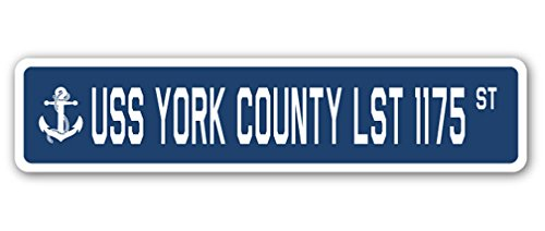 USS York County LST 1175calle señal azul marino barco marinero Veteran Vet USN regalo