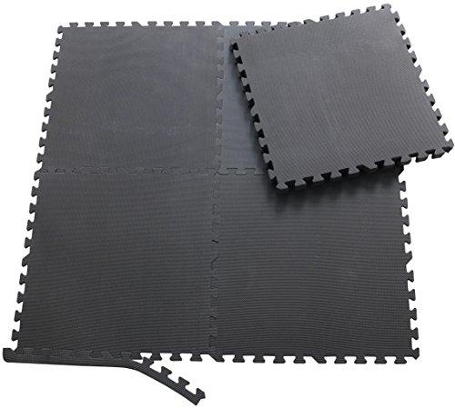 Sporttrend 24-8 Schutzmatten + 16 Endstücke in schwarz und braun | Eva Bodenschutzmatten Unterlegmatten für Sportgeräte und Fitnessgeräte