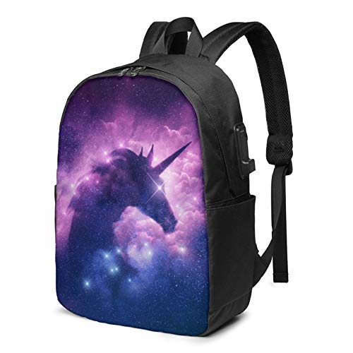 Unicorns in Galaxy Nebula Cloud Laptop Backpack 17 Inch with USB Charging Port Computer Bag