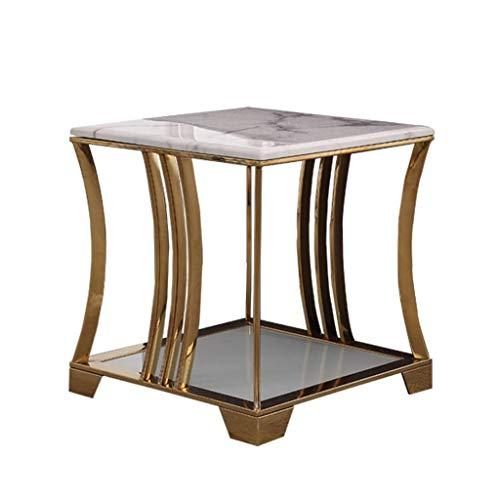 TTWUJIN Skrivbord nitur modern minimalistisk marmor soffbord, slät marmor bänkskiva, rostfri stålram, soffhörnbord, lämplig för vardagsrum, sovrum, vit