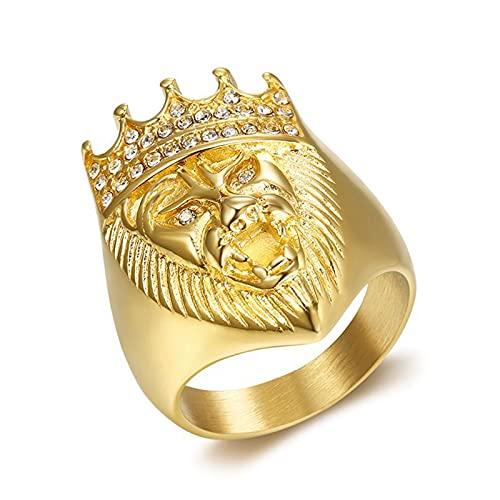 FLQWLL Anillo Cabeza León con Corona Diamantes De Imitación,Acero Inoxidable Chapado En Oro Regalo Cumpleaños De La Joyería del Motorista para Hombre,10