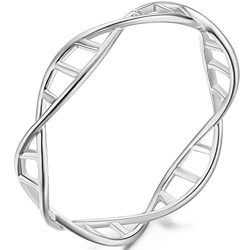 Helen de Lete Innovador anillo abierto de plata de ley ADN