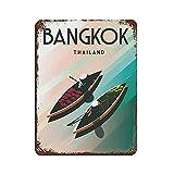 Vintage Travel Bangkok Thailand Blechschild Rost Stil