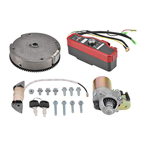 MotorFansClub Starter Motor + Flywheel + Ignition Switch Box Electric Start Kit Fit for Compatible with Honda GX160 5.5HP GX200 6.5HP