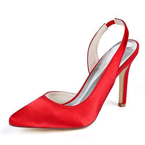 Sling High Heel, Ahmen Silk Spitzbrautschuhe Bequeme Und Weise Partei-Abschlussball Knöchelwölbungshochzeitsschuhe Pumps,Rot,36 EU