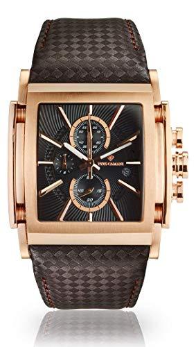 YVES CAMANI ESCAUT Herren-Armbanduhr Chronograph Analog Quarz Edelstahl-Gehäuse (Leder - Braun/Rosegold/Schwarz)