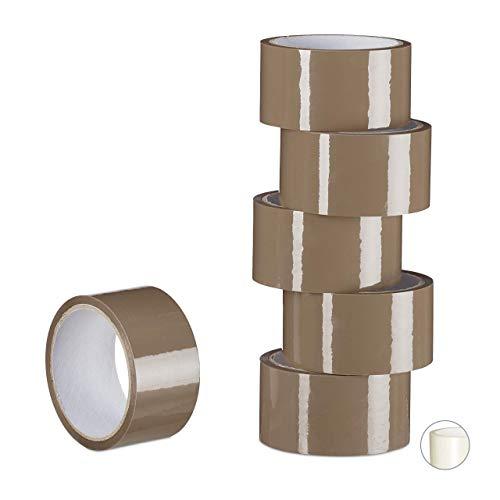 Relaxdays pakketband, 6 rollen, pakketplakband 40 m lang, PP-folie, tape 48 mm breed, verpakkingstape, bruin