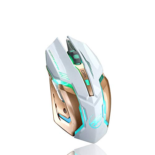 IEasⓄn Wireless Mouse, Rechargeable Silent T1 Wireless Silent LED Backlit USB Optical Ergonomic Gaming Mouse IE-NN3016 (White)
