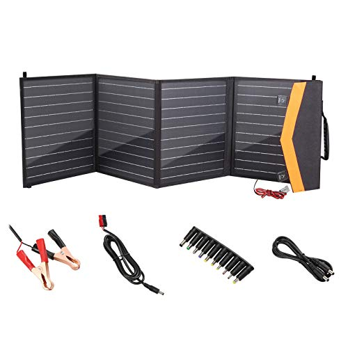 Dromild Cargador solar portátil de 100 W, 2 puertos USB, 4 panel solar impermeable con amperímetro digital y cremallera para protección