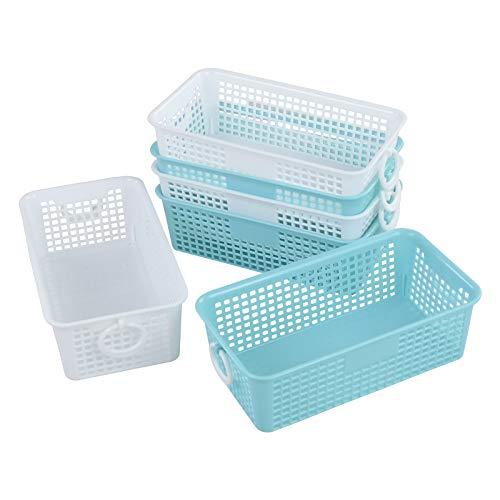 Xowine Cesta rectangular pequeña de plástico para escritorio, cestas de almacenamiento coloridas, 6 paquetes