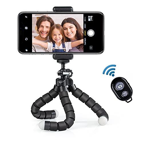 Dream High Mini Flexible Soporte Trípode Móvil con Universal Bluetooth Remoto +Teléfono Clip, Inteligente Pare Compatible con iPhone/Galaxy/Honor y Otros iOS/Android/Cámara Deportiva GoPro