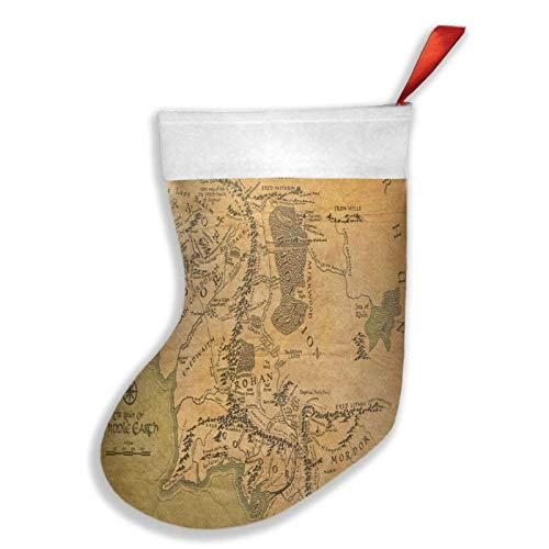 El Señor del Anillo (mapa) de Navidad calcetín de árbol de la chimenea de Navidad para fiesta de Navidad para la familia vacaciones temporada fiesta rojo