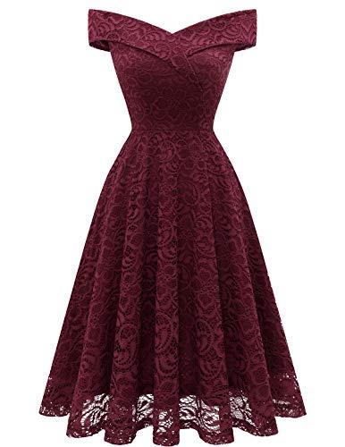 HomRain Damen Midi Elegant Hochzeit Spitzenkleid Schulterfrei Rockabilly Kleid Cocktail Abendkleider Brautjungfernkleider -1Burgundy 2XL