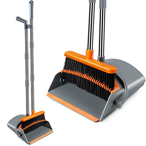 Broom and Dustpan Set Broom with Comb Dustpan Elegant & Durable Upright Dustpan and Broom with Stainless Steel Long Handle Optional Length, Ideal for Kitchen Home Office (Gray & Orange)