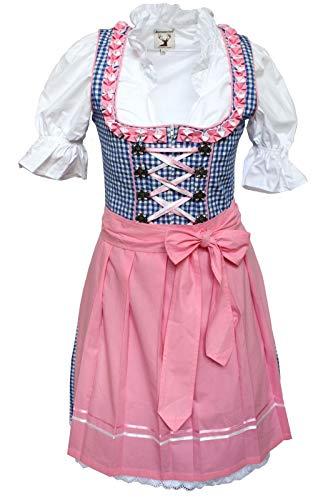 Alpenmärchen, 3tlg. Dirndl-Set - Trachtenkleid, Bluse, Schürze, Gr.34, blau-rosa, ALM627PE