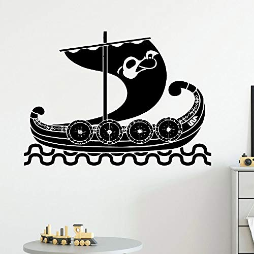 Cartoon style boat art stickers living room public school office wall stickers creative sailing background stickers A4 57x79cm