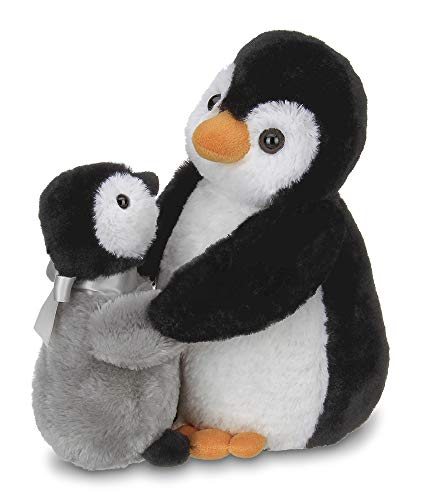 Bearington Wiggles and Wobbles Plush Stuffed Animal Penguin with Baby