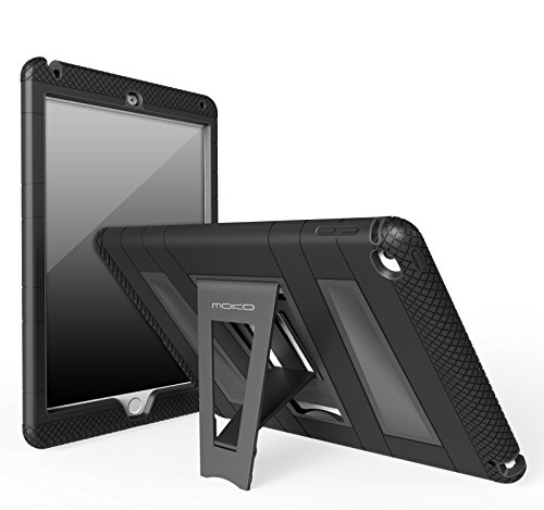 MoKo Case for iPad Air 2 - [Kickstand] Durable Hybrid Silicone + Hard Polycarbonate Kid Proof Extreme Duty [Shock-Absorption] with Foldable Stand Protective Cover for 9.7 Inch Tablet, BLACK