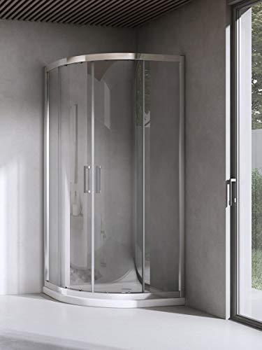 Yellowshop - Box Cabina Doccia Bagno Curvo Semicircolare, Dimensioni: 80X80 cm, Cristallo 6mm : Trasparente