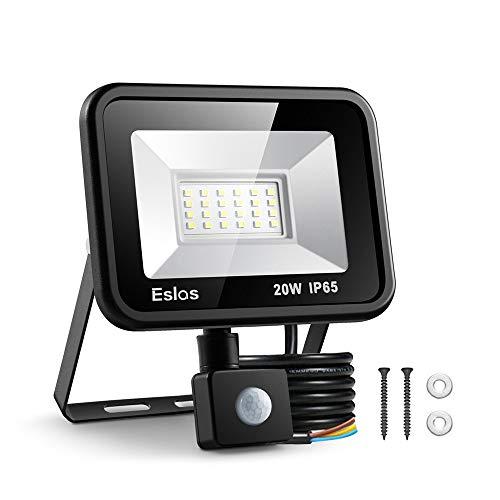 ESLAS 20W LED Faretto con Sensore di Movimento Faro Esterno IP65 Impermeabile LED Esterno 6500K 2000LM, Lampada a Rsparmio Energetico a LED per Cortile [Classe di efficienza energetica A++]