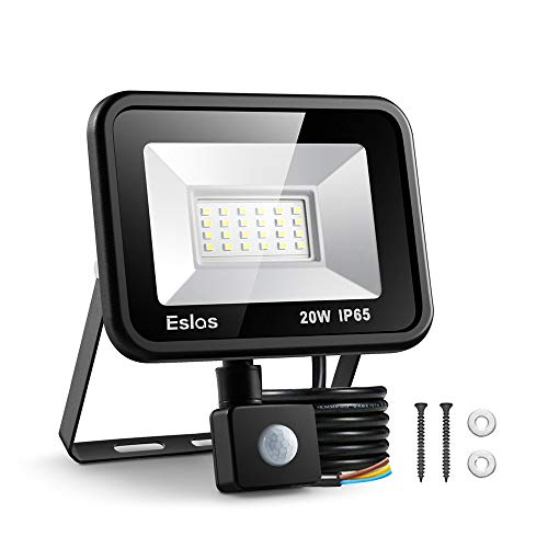 Eslas LED Floodlight 20W,Security Light with Motion Sensor Outdoor,Super Bright 2000 LM PIR Light,IP65 Waterproof for Garage,Garden,Car Park, Construction Site, 6500K Cold White[Energy Class A++ ]