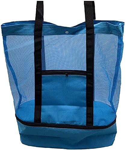 Bolsa de playa de malla para exteriores con compartimento más fresco, bolsa de picnic aislada desmontable con cremallera y bolsa de piscina con bolsillo para mujer (Azul)