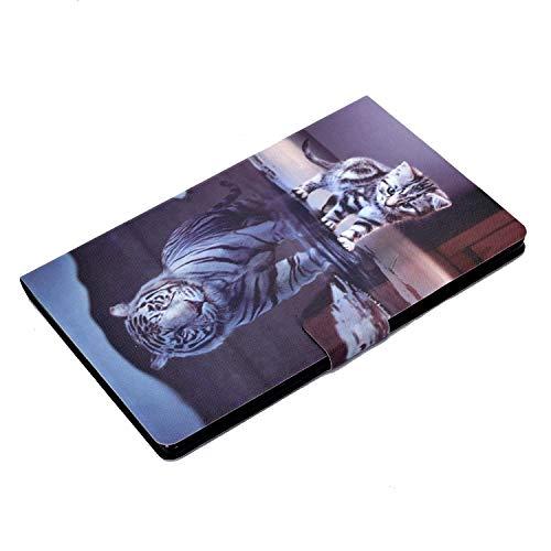 AsWant Lenovo Tab M10 Plus FHD Hülle PU Leder Folio Flip Case Brieftasche Kartensteckplatz Magnetische Tablet Schutzhülle für Lenovo Tab M10 Plus 10.3 Zoll FHD TB-X606X/TB-X606F - Katze & Tiger