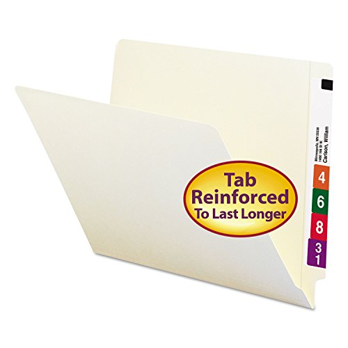 Smead 24109 Folders Straight Cut Reinforced End Tab Letter Manila 100/Box
